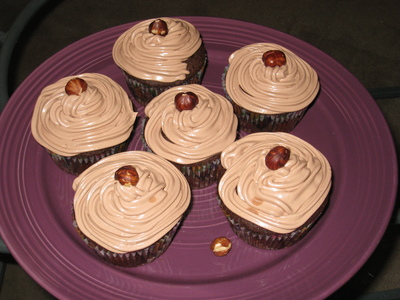 Chocolate Frangelico Cupcakes with Nutella Swiss Meringue Buttercream