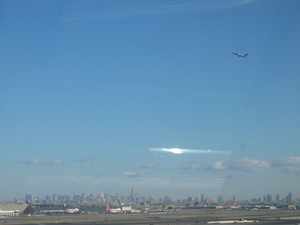 New York skyline from the Newark airport train